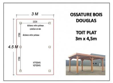 OSSATURE BOIS DOUGLAS 3 x 4.5 m