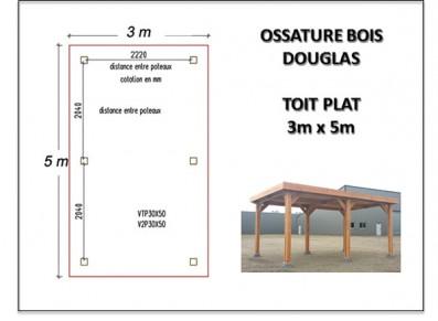 OSSATURE BOIS DOUGLAS TOIT PLAT 3 x 5 m