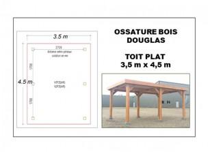 OSSATURE BOIS DOUGLAS TOIT PLAT 3.5 x 4 m