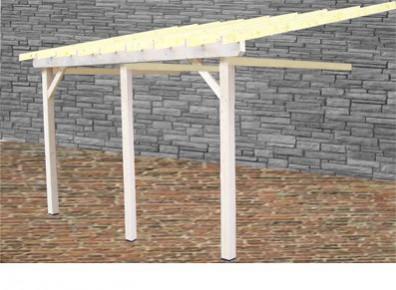carport mural 3 poteaux en bois et en sapin du nord. Black Bedroom Furniture Sets. Home Design Ideas