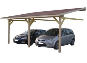 CARPORT BOIS 2 PLACES ADOSSE   4.50 x 6.32 M