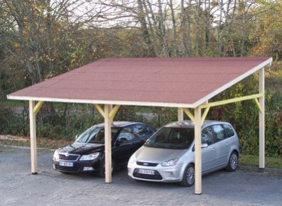 carport pour 2 voitures en bois avec une toiture monopente. Black Bedroom Furniture Sets. Home Design Ideas