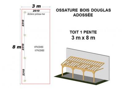 ossature bois charpente mono pente adoss e prix usine. Black Bedroom Furniture Sets. Home Design Ideas