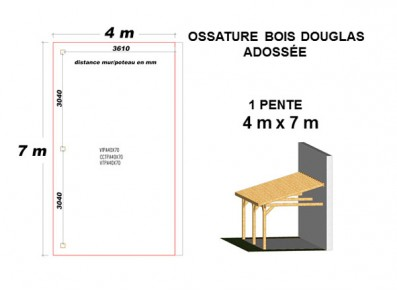 OSSATURE DOUGLAS ADOSSÉE TOIT MONO PENTE
