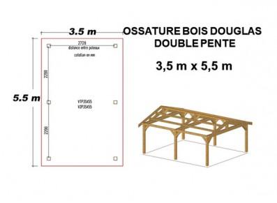 OSSATURE A COUVRIR BOIS DOUGLAS DOUBLE PENTE