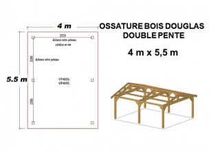 OSSATURE DOUGLAS DOUBLE PENTE ORIGINE FRANCE