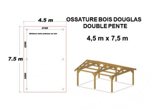 OSSATURE BOIS DOUGLAS DOUBLE PENTE ORIGINE FRANCE
