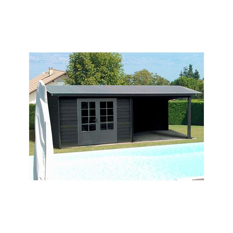 abri jardin moderne design lame composite avec terasse. Black Bedroom Furniture Sets. Home Design Ideas