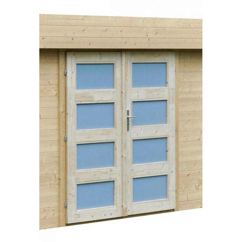 Abri de jardin lounj en madrier bois avec auvent for Auvent de jardin en bois