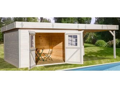 abri de jardin en bois avec terrasse livr mont. Black Bedroom Furniture Sets. Home Design Ideas