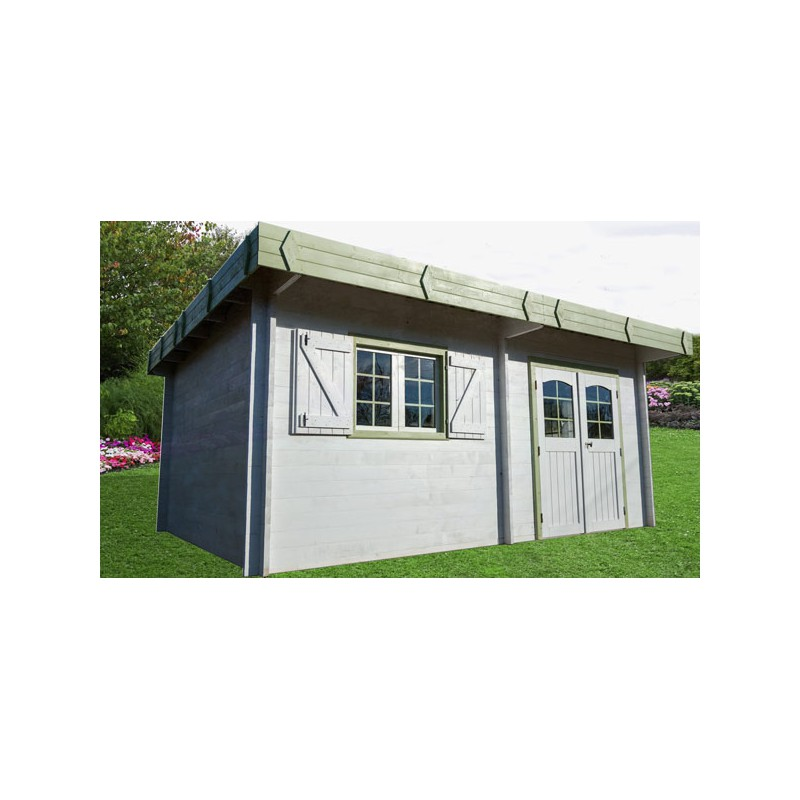 abri de jardin en bois et toit plat livr mont. Black Bedroom Furniture Sets. Home Design Ideas