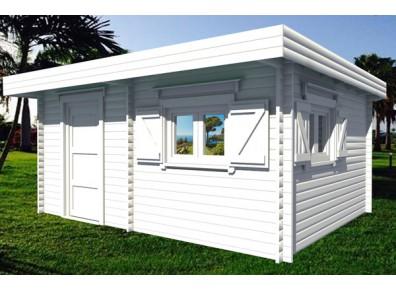abri de jardin toit plat en bois brut mont. Black Bedroom Furniture Sets. Home Design Ideas