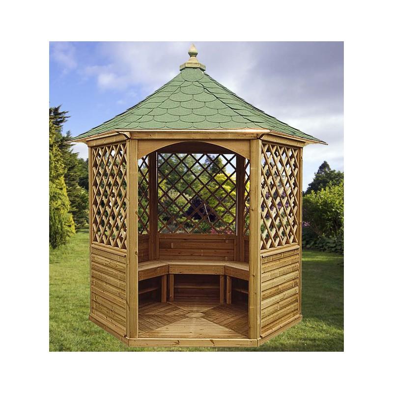 gloriette hexagonale de m en bois trait. Black Bedroom Furniture Sets. Home Design Ideas