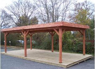 Abri voiture bois carport pas cher 1 ou 2 voitures for Construire un garage en bois toit plat