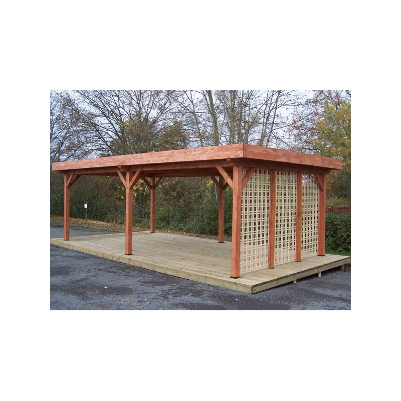 pergola en bois avec toit plat en bac acier. Black Bedroom Furniture Sets. Home Design Ideas