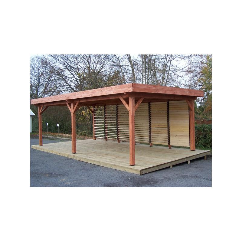Pergola en bois brut au toit plat en acier et vantelles - Maison en bois peinte ...