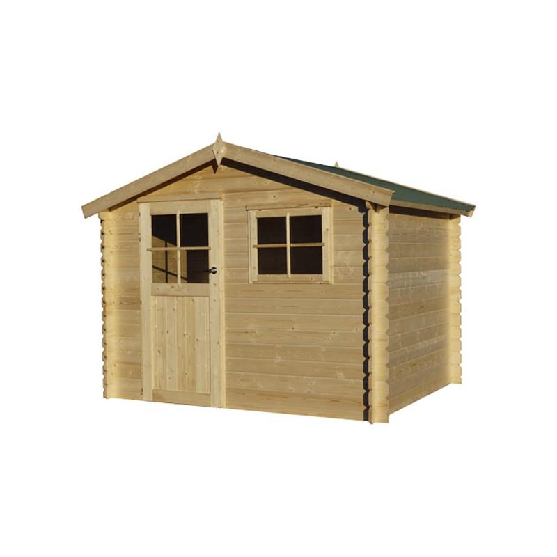 petit chalet de jardin en bois madrier 28 mm 7m. Black Bedroom Furniture Sets. Home Design Ideas