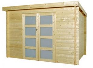 Abri de jardin moderne en bois brut 28 MM couverture bac acier