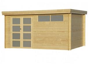 Abri de jardin en bois, toit plat en acier  L4.15 x P2.95 m