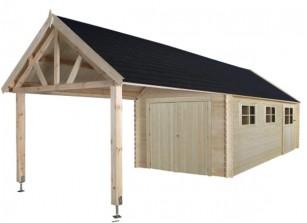Garage voiture abri garage bois metal kit promo for Garage avec auvent