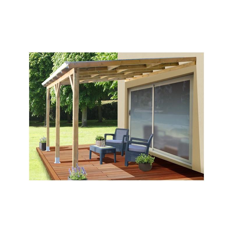 Toit terrasse adoss en bois trait et polycarbonate for Toit terrasse en bois