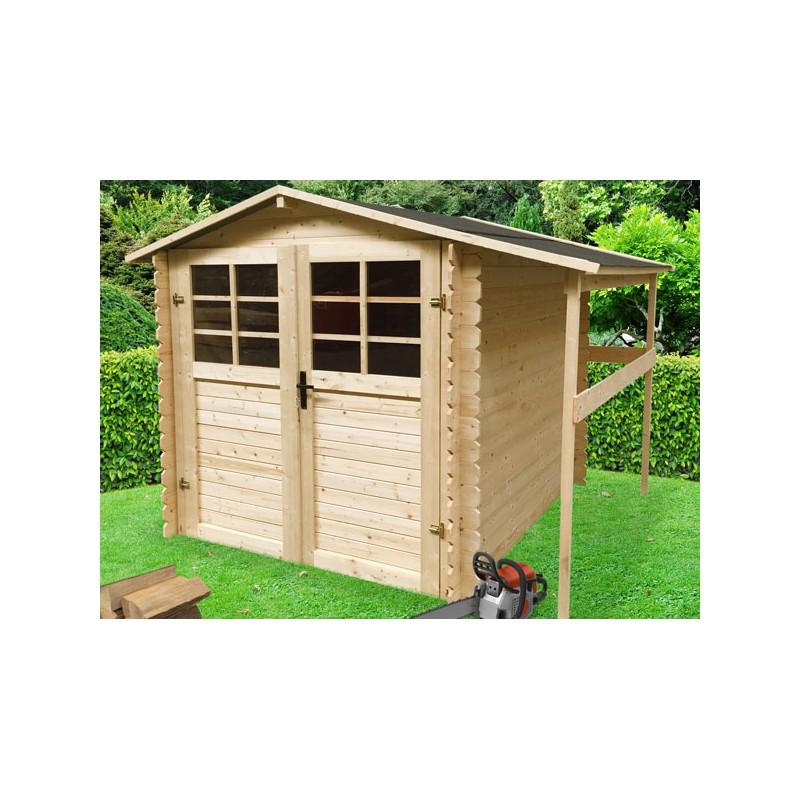 Abri de jardin en madrier bois 19 mm auvent lateral for Cabane de jardin pas chere