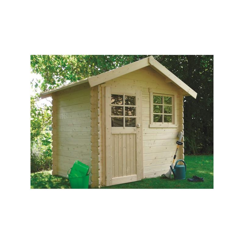 Abri de jardin traditionnel en bois trait 28 mm for Chalet de jardin en bois traite autoclave