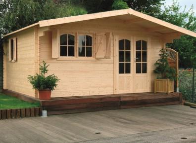 Chalet de jardin en bois brut madriers 40 mm - Couverture chalet de jardin ...