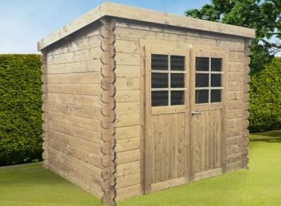 Abri de jardin contemporain en bois brut madriers 19 mm