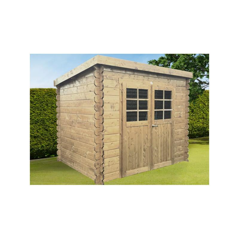 Abri de jardin contemporain en bois brut madriers 19 mm - Couverture chalet de jardin ...