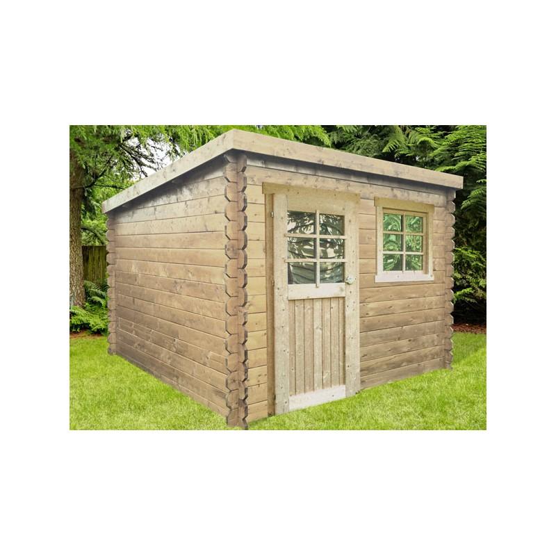 Abri de jardin moderne en bois autoclave madriers 28 mm for Chalet de jardin en bois traite autoclave