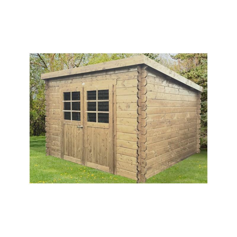 Abri de jardin moderne en bois trait madriers 28 mm - Abri de jardin toit plat traite autoclave ...