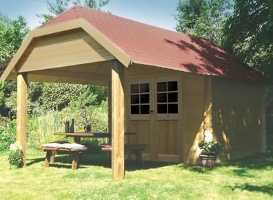 Abri de jardin en bois brut 28 mm avec auvent