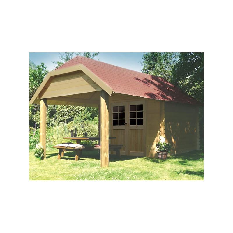 Abri de jardin en bois brut 28 mm avec auvent for Auvent de jardin en bois