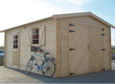Garage bois madriers 40 mm 3,58 x 5,38 m