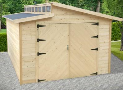 Garage bois madrier 28 mm Toit décallé