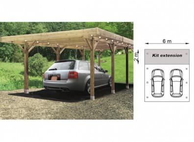 Carport voiture en bois trait modulable for Abri auto double costco