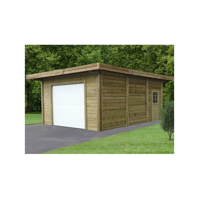 garage en bois trait avec double entr e 35 m. Black Bedroom Furniture Sets. Home Design Ideas