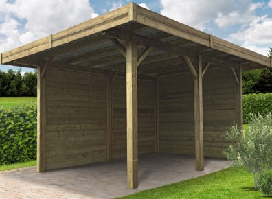 carport en bois trait avec parois lat rales. Black Bedroom Furniture Sets. Home Design Ideas