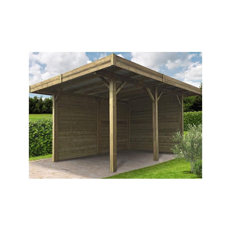 carport en bois trait semi ferm 21m2. Black Bedroom Furniture Sets. Home Design Ideas