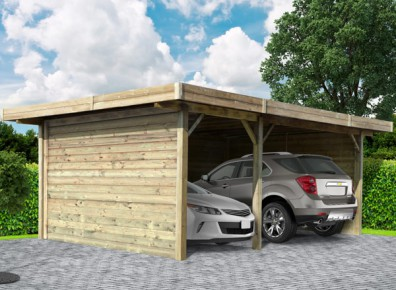 carport double ferm en bois trait 35 m. Black Bedroom Furniture Sets. Home Design Ideas