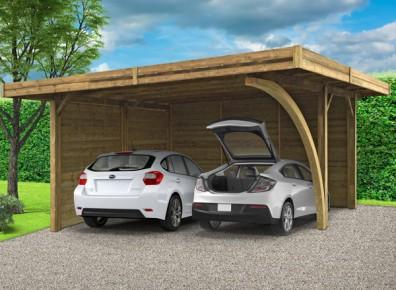 carport en bois trait avec parois lat rales. Black Bedroom Furniture Sets. Home Design Ideas