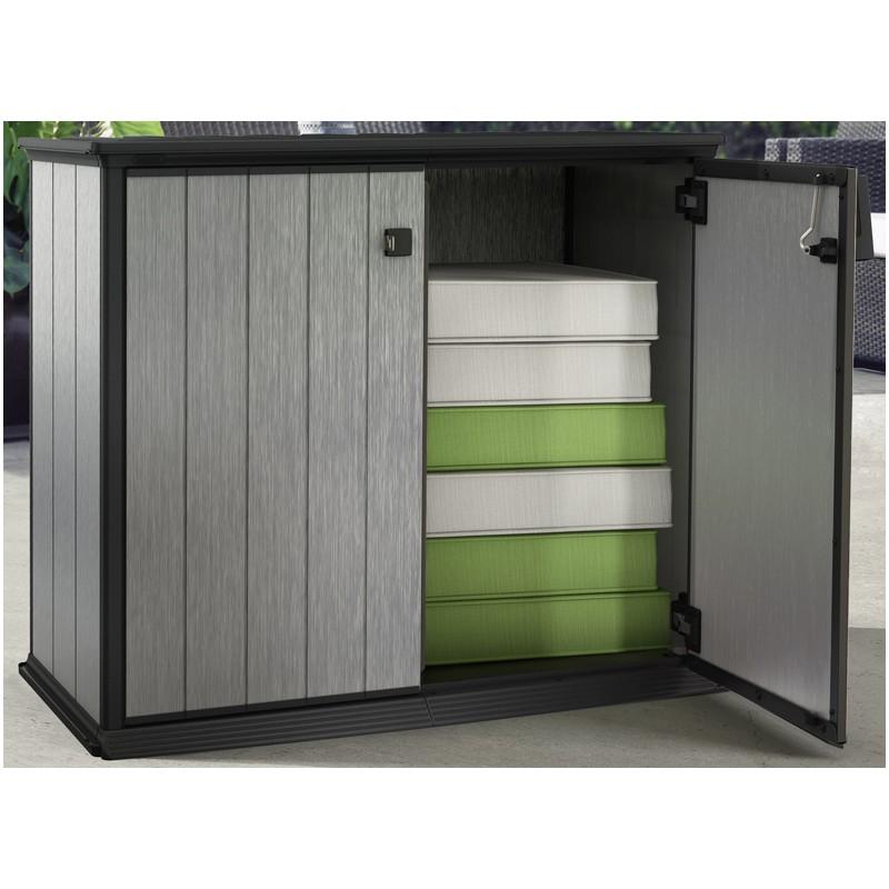 armoire basse en r sine avec grande capacit. Black Bedroom Furniture Sets. Home Design Ideas