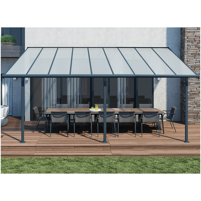 pergola adoss aluminium gris et toit transparent. Black Bedroom Furniture Sets. Home Design Ideas
