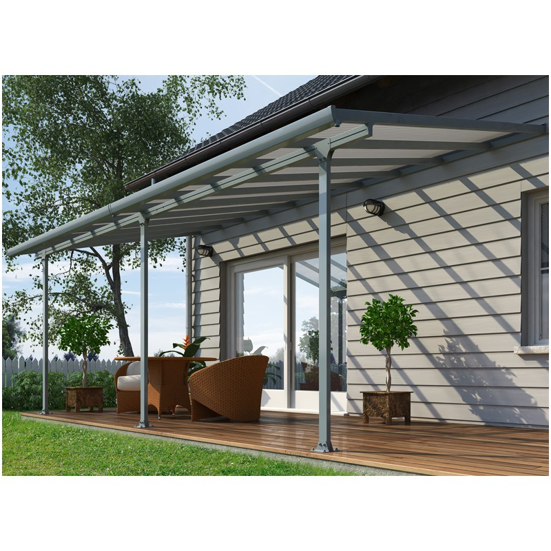 toit terrasse aluminium polycarbonate gris. Black Bedroom Furniture Sets. Home Design Ideas