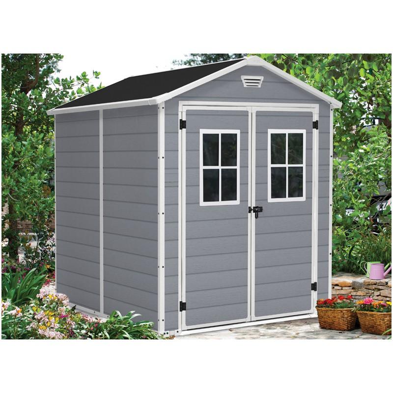 abri de jardin r alis en r sine et avec une double porte. Black Bedroom Furniture Sets. Home Design Ideas