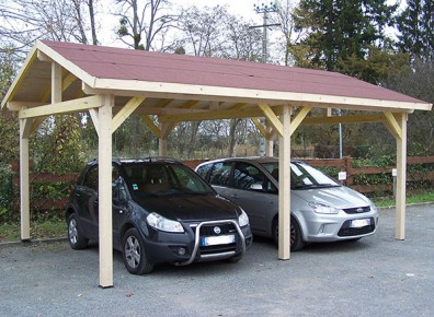 carport pour 2 voitures en bois avec un toit double pente. Black Bedroom Furniture Sets. Home Design Ideas