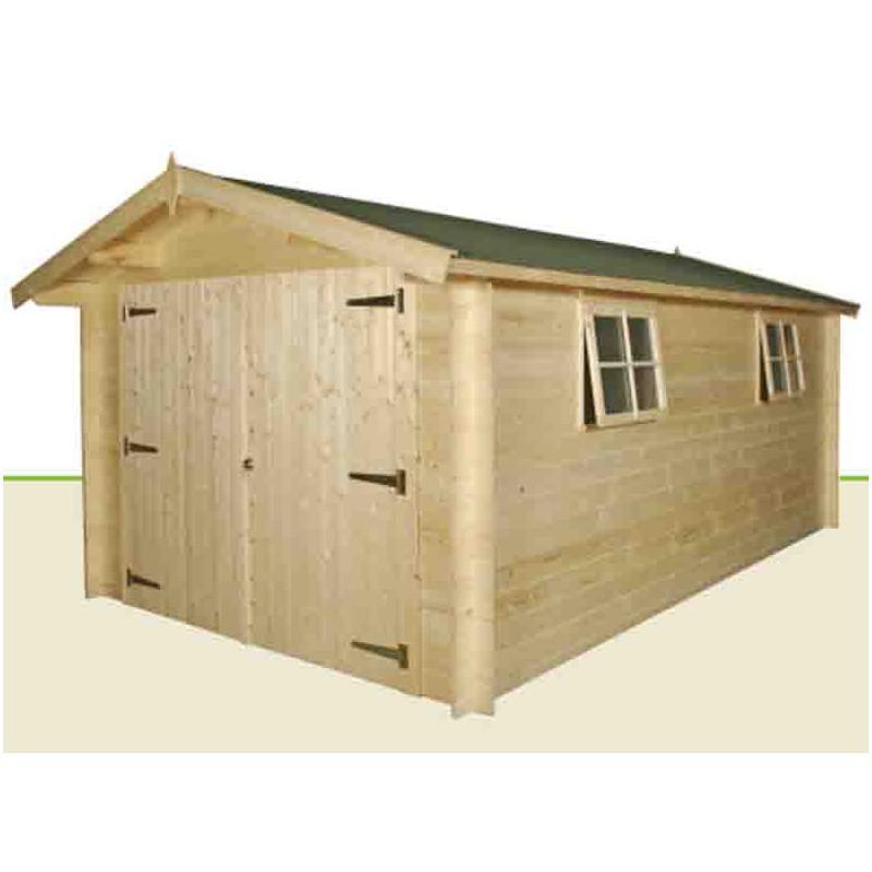 Garage en madrier bois non trait 19m2 for Garage bois traite