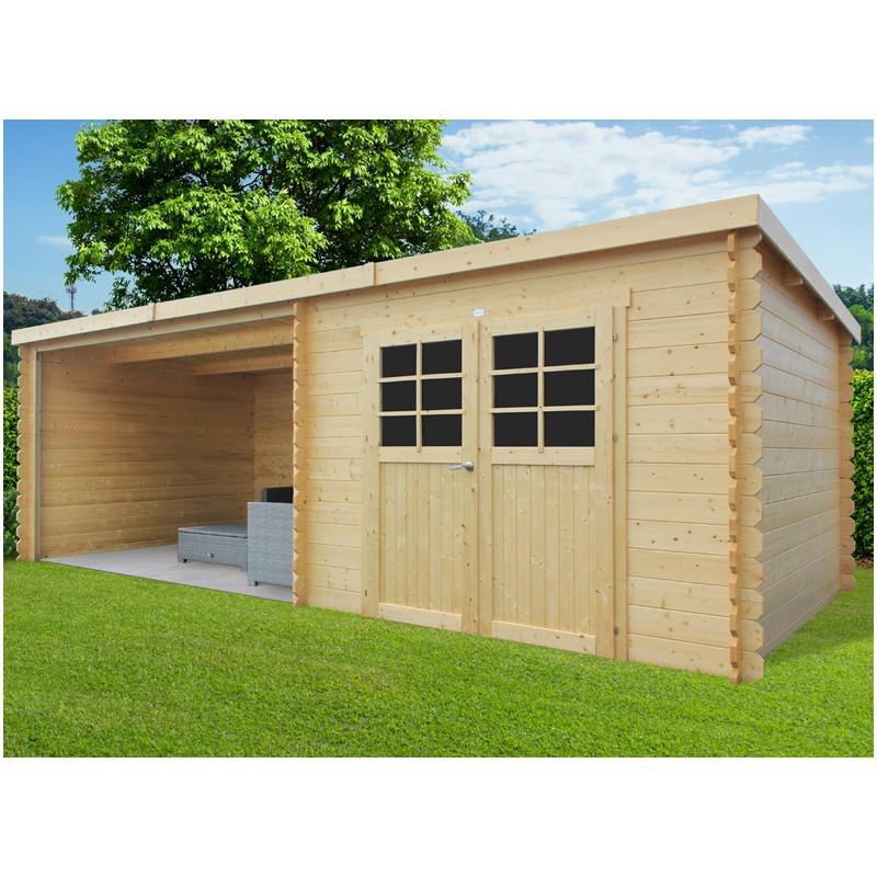Abri de jardin bois 28 mm et auvent trait - Abri de jardin toit plat traite autoclave ...