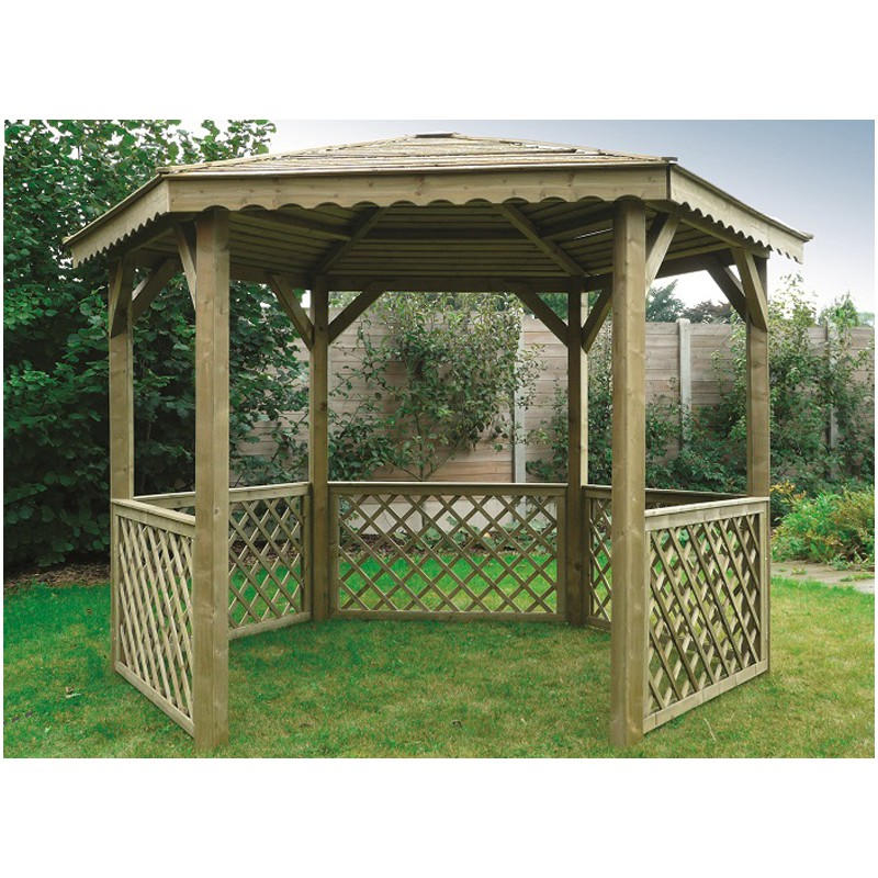 gloriette hexagonale en bois trait. Black Bedroom Furniture Sets. Home Design Ideas